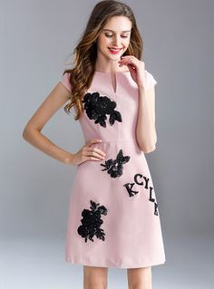 Pink Flower Patchwork A Line Dress All The Colors 993597feb