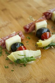 "Antipasto on a Stick | ""These make-ahead, quick appetizers are a party-favorite!"""