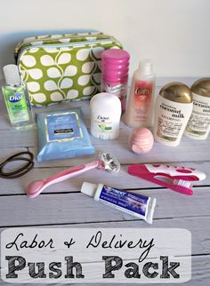 DIY Push Pack- perfect gift for an expecting mom! Cute toiletry bag + travel-sized essentials for a more comfortable hospital stay.
