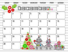 {Free Version} December 2012 Calendar — Hello, Cuteness!
