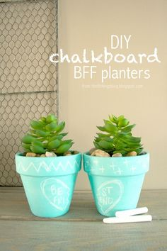 How adorable are these BFF chalkboard planters? I am totally obsessed! So fun and versatile!