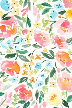 Persimmon Spring by nataliemalan - Hand painted watercolor florals on fabric, wallpaper, and gift wrap. Colorful flowers in pink, blue, orange, and yellow on a white background in a painterly watercolor style. #floral #wedding #watercolor #fabric
