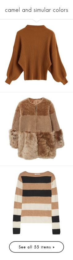 """""""camel and simular colors"""" by milicamonaj ❤ liked on Polyvore featuring tops, sweaters, shirts, ribbed top, ribbed mock neck sweater, rib shirt, brown shirts, mock neck shirt, outerwear and coats"""