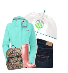 """""""BTS// rainy day"""" by i-am-bryana ❤ liked on Polyvore featuring Abercrombie & Fitch, The North Face, Vera Bradley, Hunter and Lilly Pulitzer"""