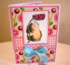 Greeting Card  Penny Black HedgeHog Pink by PaulaCraftyBoutique, $3.50