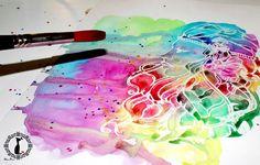Tutorial paso a paso acuarela efecto tinta corrida