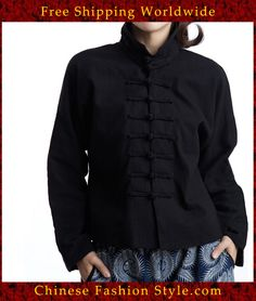 100% Handmade Linen Cotton Blouse Shirt Top - Oriental Chinese Embroidery Art #142 http://www.chinesefashionstyle.com/jackets-blouses/