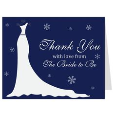 Winter Gown Navy Thank You Card