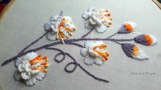 Hand embroidery beautiful white Brazilian embroidery | Hand Embroidery W... Hand Embroidery Videos, French Knot Embroidery, Embroidery Stitches Tutorial, Embroidery Flowers Pattern, Hand Embroidery Designs, Ribbon Embroidery, White Brazilian, Kutch Work Designs, Brazilian Embroidery