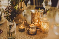 For all you festival lovin' guys and gals out there we have the super fun wedding of Colly and Kerry! Wedding Decorations, Wedding Ideas, Table Decorations, Candle Jars, Candles, Amy, Photography, Home Decor, Photograph