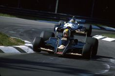 1977. Italian Grand Prix. Monza. Gunnar Nilsson (Lotus 78) and Ronnie Peterson (Tyrrell P34).