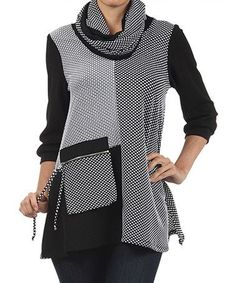 Love this Black & White Tunic & Infinity Scarf by Come N See on #zulily! #zulilyfinds:
