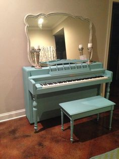 I painted my piano with Annie Sloan Provence Blue. Amazing