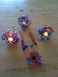 Theelichtjes, Pennen, bloem gevilt onder begeleiding van Atelier.Naaiz11.