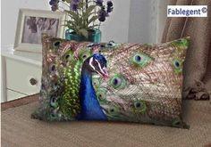 Amazon.com - Fablegent Elegant Decorative Throw Pillow Cover - Rectangular Peacock Fashion Design on Both Sides - Soft Velvet Fabric - XH103 -