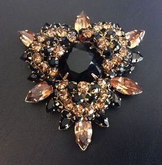 Signed SCHREINER Brooch Black & Amber Glass Rhinestone Tiered July 2017 $89.92 eBay!