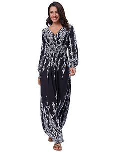New Kate Kasin Women's Casual Long Sleeve V Neck Boho Bohemian Maxi Dress online. Find the perfect Pxmoda Dresses from top store. Sku fapa62348hzyt84876