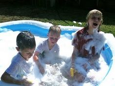 Family Fun Night. Back yard bubble bath.