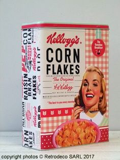 Boîte Corn Flakes Kellogg's The Sunshine breakfast GM Nostalgic Art, Deco Retro, Corn Flakes, Vintage Packaging, Ol Days, Good Ol, Frosted Flakes, Raisin, Sunshine