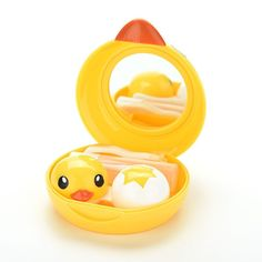 1PCS Wholesale Cartoon duck Design Contact Lens Box Case Holder Container Case For Lenses with Mirror