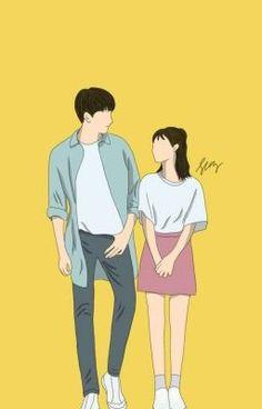 Cute Couple Drawings, Cute Couple Cartoon, Cute Couple Art, Cute Love Cartoons, Cute Drawings, Cute Couples, Wattpad Book Covers, Wattpad Books, Cute Couple Wallpaper