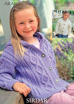 Sirdar Bonus Aran Children's Knitting Pattern 2126 by Sirdar Sirdar Knitting Patterns, Knit Patterns, Knitting For Kids, Free Knitting, Cable Cardigan, Knit Crochet, Creations, Barn, Knitting Supplies