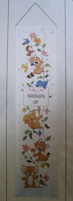 Forest Friends Growth Chart Stamped Cross Stitch Kit 6824 Columbia Minerva 1980 #ColumbiaMinerva
