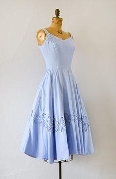 vintage 1950s sky blue cotton sundress with soutache