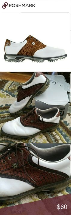 Foot Joy Dry Joys Tour Mens Golf Shoe sz 12 FJ Dry Joys Tour White Chesnut Leather Mens Golf Shoe Style # 53612  Worn a few times, some marking on white part and scuffing on toe but in great shape. Brown saddle and alligator skin design. Has cleats on bottom with some wear.  Great for Fathers Day! I Have several pairs of sz 12 golf shoes feel free to ask questions and I am more than happy to bundle or discount! Shoes Athletic Shoes