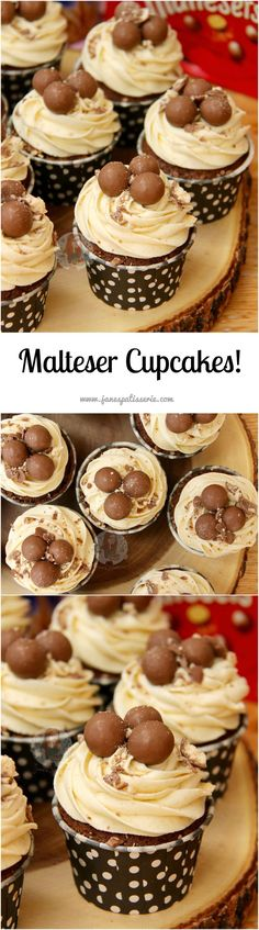 Chocolate Malt Cupcakes with Malt Buttercream Frosting. The Perfect Malteser Cupcakes for any occasion! (chocolate icing for cake frosting recipes) Cupcake Recipes, Baking Recipes, Cupcake Cakes, Dessert Recipes, Cup Cakes, Rose Cupcake, Picnic Recipes, Baking Desserts, Baking Cupcakes