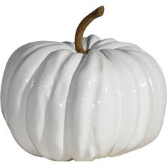 DK Living White Pumpkin ($82) ❤ liked on Polyvore featuring home, home decor, holiday decorations, halloween, fall, fillers, pumpkin, detail, embellishment and white home decor