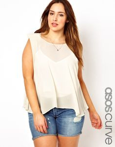 b0ce884eacbe6 Asos Curve - Top With Swing Drape Fat Girl Fashion