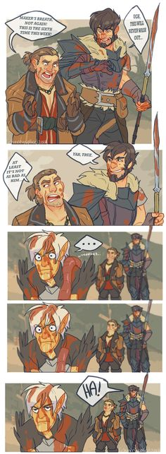 """Another return to talk about the hilarious """"gore"""" in Dragon Age I was going to do a repeat of my old image """"Bloody Hell"""" but I decided I wanted to do. DA Got it Worse Hawke Dragon Age, Dragon Age 2, Dragon Age Origins, Dragon Age Inquisition, Dragon Age Comics, Dragon Age Memes, Dragon Age Funny, Nerd, Mass Effect"""