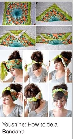 Directions on how to tie a bandana in your hair!