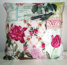 "£8.89 NEW PINK BIRDS/SHABBY CHIC CUSHION COVER 16""x16"" 