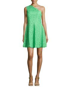 Maia One-Shoulder Lace Dress, Women's, Size: 4, Apple Green - Shoshanna