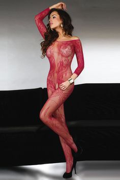 Corsetti Abra Bodystocking C17086 £21.99  This is a Long sleeved full length, scoop necked bodystocking by Corsetti Lingerie. Beautifully adorned with an over floral and filigree pattern. #lingerie #bodystocking