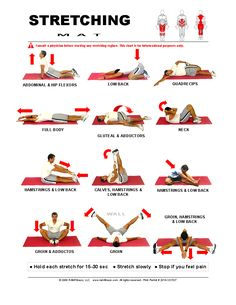 Free Printable Mat Stretching Guide for the Whole Body Includes Runners Stretches Hip Stretches For Runners, Stretching Exercises For Seniors, Body Stretches, Morning Stretches, Thigh Exercises, Free Workout Plans, Workout Log, Workout Guide, Stretch Routine