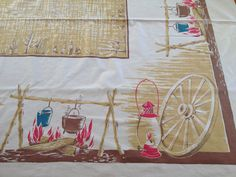 Large California Hand Prints Campfire Tablecloth by AStringorTwo