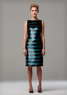 TEAL AND BLACK STRIPED SEQUIN COCKTAIL DRESS  A stunning, densely sequinned cocktail dress in teal and black stripes, beautifully understated and elegant.