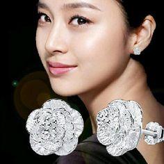 Tomtosh pendientes de plata Amor cereza modelos femeninos súper alta calidad de gama alta joyería de cristal de las mujeres joyas flash