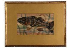 $395.00 19th-C. Fish Watercolor
