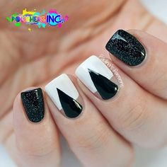 Black and white manicure with triangles ===== Check out my Etsy store for some nail art supplies https://www.etsy.com/shop/LaPalomaBoutique