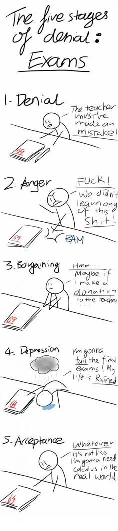 5 Stages of Exams funny picture