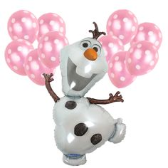 Baby Shower Birthday Frozen Olaf Super shape Polka dot Pearl Pink Foil Balloons #Anagram #BabyShower