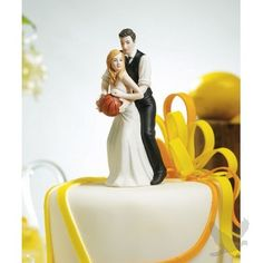 """Basketball Dream Team\"" Bride & Groom Wedding Cake Topper Figurines, This would be perfect considering basketball is the reason we got together"