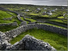 Centuries old stone fences divide the wild Irish landscape.
