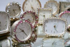 sparkly vintage rhinestone clocks - I still have one given me when I was a girl - guess I'm vintage!