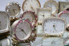 sparkly vintage rhinestone clocks