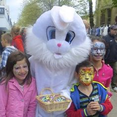 Easter Face Painting in Bedford Town Centre.